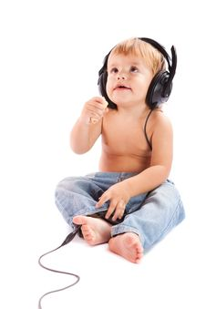 Free Child With Headphones Royalty Free Stock Photo - 17346125