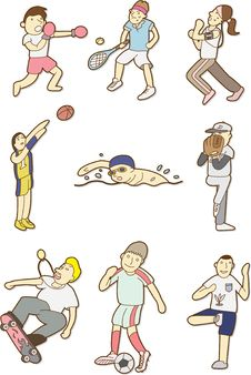 Free Doodle Sport People Royalty Free Stock Photo - 17346455