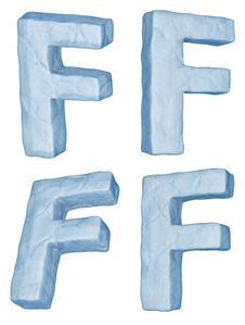 Icy Letter F. Stock Photo