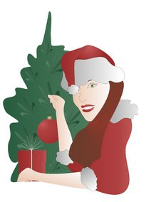 Girl Santa Decorate A Christmas Tree. Royalty Free Stock Images