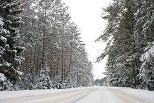 Free Country Road In Snow Royalty Free Stock Photography - 17347257
