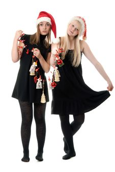Two Girls In The Santa Hat Stock Images