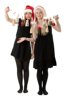 Free Two Girls In The Santa Hat Royalty Free Stock Image - 17347656