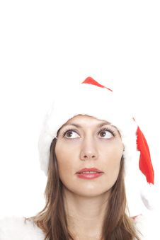 Free Christmas Woman Looking Up To The Right Royalty Free Stock Photos - 17347968