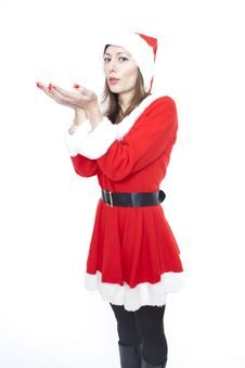 Free Christmas Woman Blowing Air Royalty Free Stock Image - 17348216