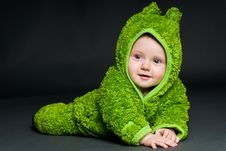 Free Baby In A Frog Outfit Royalty Free Stock Photography - 17349407