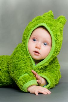 Free Baby In A Frog Outfit Stock Images - 17349424