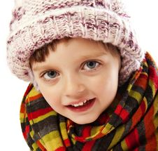 Free Happy Little Girl Winter Portait Royalty Free Stock Photo - 17349585