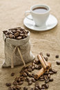 Free Cinnamon And Cup Of Coffee On Sacking Royalty Free Stock Photos - 17351268