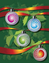 Free Christmas Background With Ribbons And Globes Stock Photography - 17355322