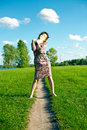 Free Young Woman On Meadow With Green Grass Royalty Free Stock Photos - 17355368