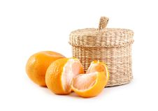 Free Wicker Boxe And Mandarin Stock Photo - 17350080
