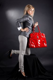 Free Woman With Red Bag Stock Photos - 17350303