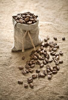 Free Coffee Beans In Bag On Sacking Stock Photography - 17350862