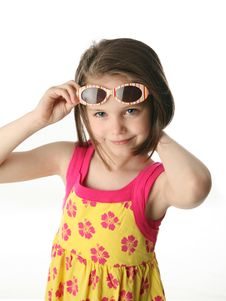 Free Young Girl With Sunglasses In Studio Stock Images - 17351074