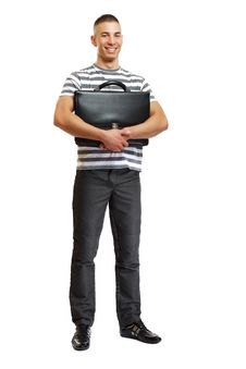 Free Young Handsome Man Posing With Suitcase Royalty Free Stock Photos - 17351138