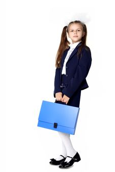 Girl With Briefcase Royalty Free Stock Images