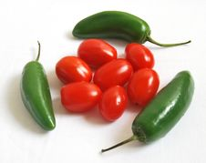 Peppers And Cherry Tomatoes Royalty Free Stock Photography