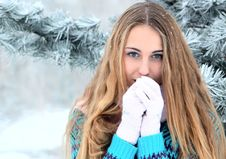 Free Portrait Of Teenage Girl In Winter Park Royalty Free Stock Image - 17351646