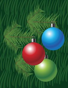 Free Christmas Background With Globes And Pine Leaves Stock Photography - 17351772