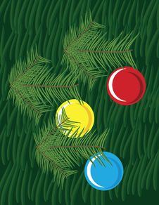 Christmas Background With Pine Leaves And Globes Royalty Free Stock Photography