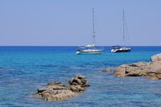 Free Sailboats Moored In The Beautiful Sea Of Sardinia Stock Photo - 17351920
