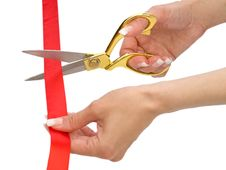 Free Hands Of Woman With Scissors And Red Line Isolated Stock Image - 17352001