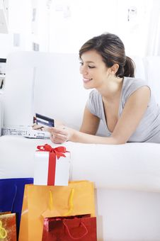 Free Young Woman In Shopping On-line Stock Image - 17352021