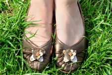 Free Female Feet In A Grass Royalty Free Stock Photos - 17353118