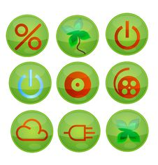 Free Green Icons Set Royalty Free Stock Photos - 17353228