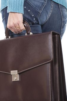 Woman Holding A Briefcase Stock Images
