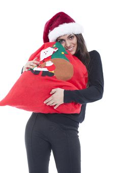 Woman Holding Christmas Shopping Bag Stock Photography