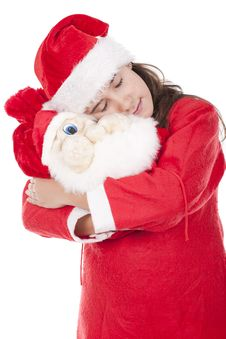 Free Young Girl Holding A Christmas Bag Royalty Free Stock Images - 17353639