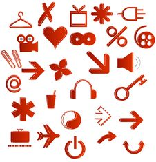 Free Red Icons Set Stock Image - 17353801