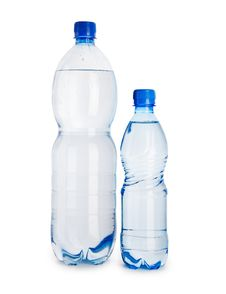 Free Big And Small Blue Bottle Isolated Royalty Free Stock Photo - 17353825