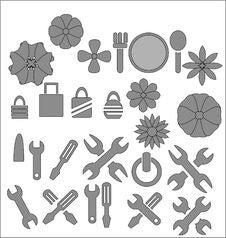 Free Silhouettes Tools Set Royalty Free Stock Photo - 17353845