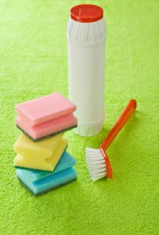 Brush Bottle And Sponges Stock Photography