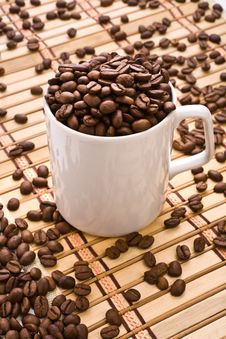 Composition Of Coffee Mug And Coffee Grain Stock Images