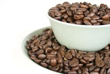 Free Coffee Beans In Cup And Saucer Royalty Free Stock Photo - 17354415