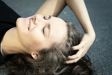 Free Portrait Of A Beautiful Young Lady Closed Eyes Stock Photography - 17354492