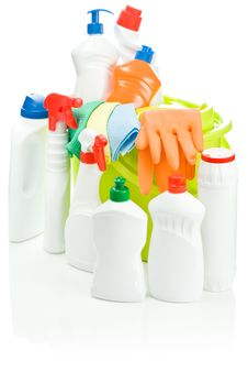 Isolated Composition Of Cleaning Supplies Stock Photos