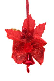 Red Christmas Bell With Red Bow And Flowers