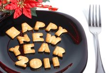 Free Black Plate With Cookies, Fork And Decoration Royalty Free Stock Photography - 17354877