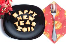 Free Black Plate With Cookies, Fork And Decoration Stock Photo - 17354910