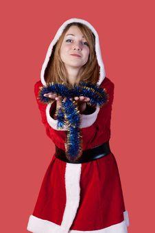 Girl As Santa Claus Royalty Free Stock Images