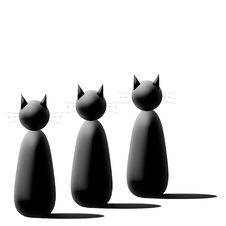 Three Black Cartoon Cats Royalty Free Stock Photo