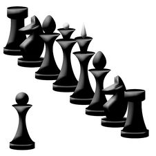 Free Composition Of Black Chessmen Stock Photo - 17355310