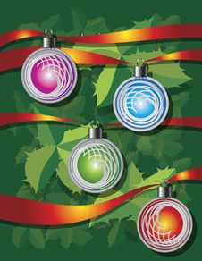 Christmas Background With Ribbons And Globes Stock Photography