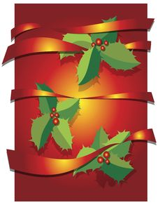 Free Christmas Background With Leaves And Ribbons Royalty Free Stock Images - 17355329
