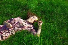 Free Beautiful Girl Lying Down Of Grass Stock Photo - 17355380